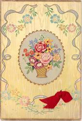 no front title, ovular inset with vase of mixed flowers,stylised flowers surround, yellow background, red ribbon applique