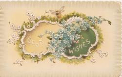 GOOD WISHES in white on design insets, stylised & blue forget-me-nots around, embossed