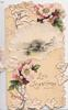 LIVE LONG & HAPPY on yellow background below perforated pink wild roses design & watery rural scene, ivy