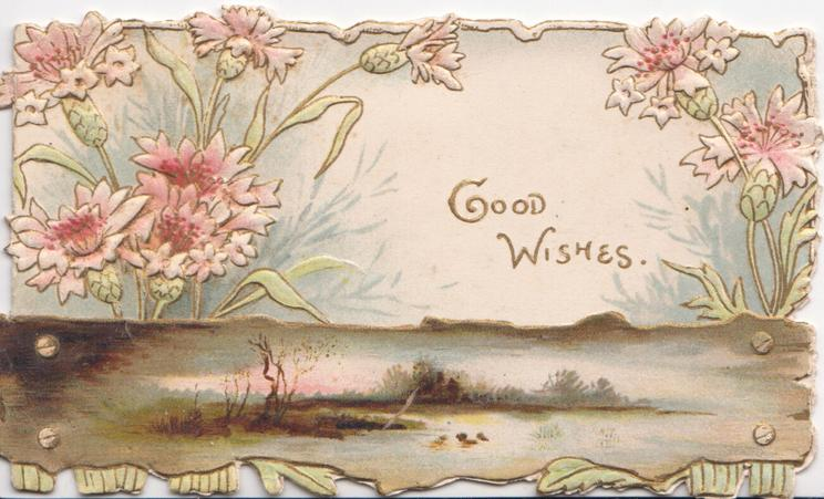 GOOD WISHES in gilt on white background, pink & white daisies above watery rural inset on plank