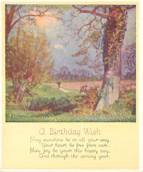 A BIRTHDAY WISH & verse MAY SUNSHINE ...  distant figure walks down path, grass with trees left & front