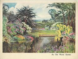 AN OLD WORLD CREATION landscaped gardens with purple irises front, topiary across pond, clouds