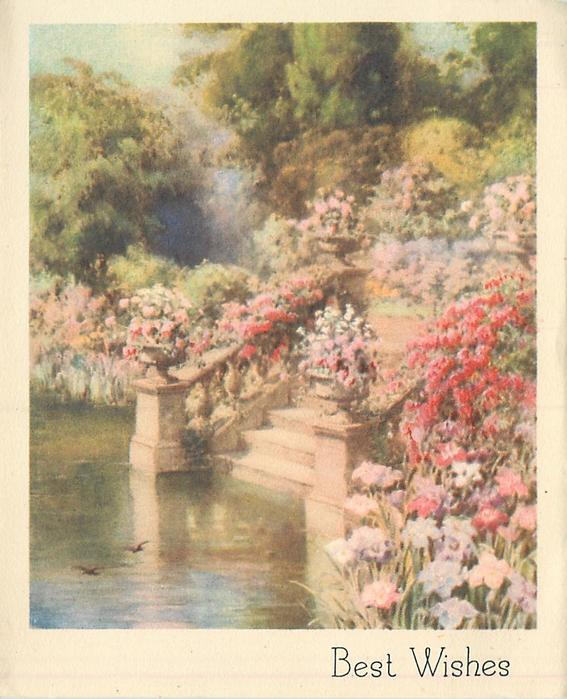 BEST WISHES lush flower garden with stone steps leading to pond, two small birds