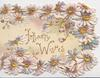 GREETINGS in gilt, white daisies with yellow centres around central title, perforated