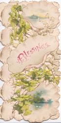 BLESSINGS in pink on white inset among perforated ginkgo leaves, watery rural insets above & below