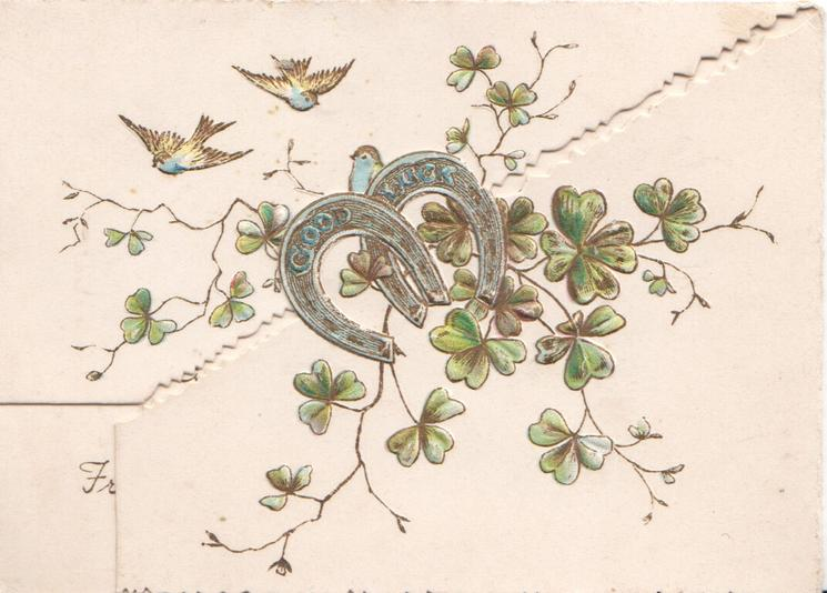no front title, two silver horseshoes over clover leaves tiny blue-birds fly