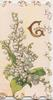 GREETINGS (illuminated G) above lilies-of-the-valley, stylised marginal flower design