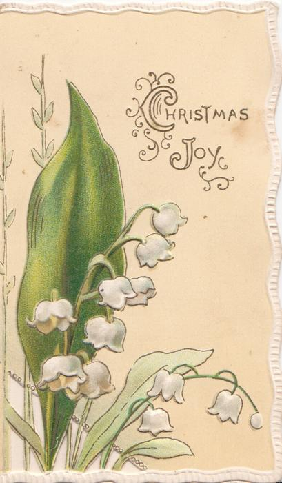 CHRISTMAS JOY in gilt, yellow background, lilies-of-the-valley left, perforated, marginal white design