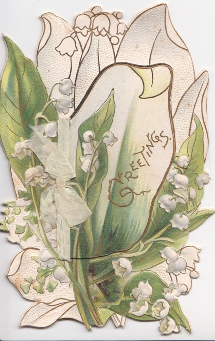 GREETINGS in gilt, lilies-of-the-valley, some stylised, in front of leafy design