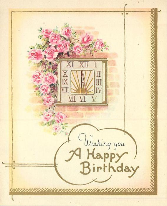 WISHING YOU A HAPPY BIRTHDAY pink roses above & left of square clock with roman numerals