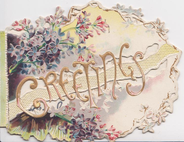 GREETINGS in gilt on white designed ribbon, purple lilac above & below, perforated