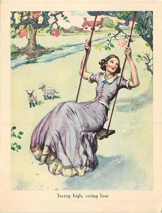 SWING HIGH, SWING LOW woman in lilac dress on tree swing, two lambs, expansive  lawns with distant cottage