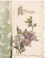 HAPPINESS(illuminated H) above violets, green design left. embossed