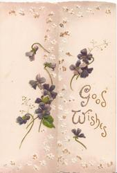 GOOD WISHES in gilt right,  violets around