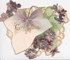 GOOD WISHES in gilt on exaggerated ivy leaf, violets around, complex perforated back marginal design