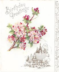 BIRTHDAY GREETINGS above pink cherry blossoms, gilt & white cottage below, stylised gilt flowers on panel right