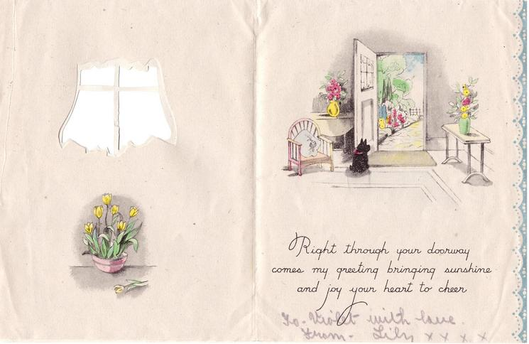BIRTHDAY GREETINGS  perforated green window looks out on cottage path & door, blue curtains, stylised flowers surround