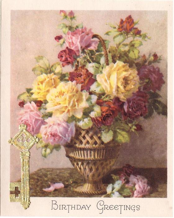 BIRTHDAY GREETINGS pink, yellow & red roses in metallic vase