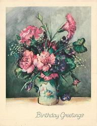 BIRTHDAY GREETINGS pink carnations & purple violets in ceramic vase with floral pattern, green gradient background