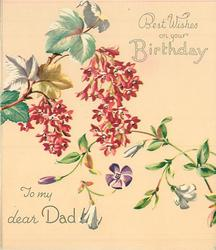 BEST WISHES ON YOUR BIRTHDAY -- TO MY DEAR DAD flowering currant & vine with purple and white flowers