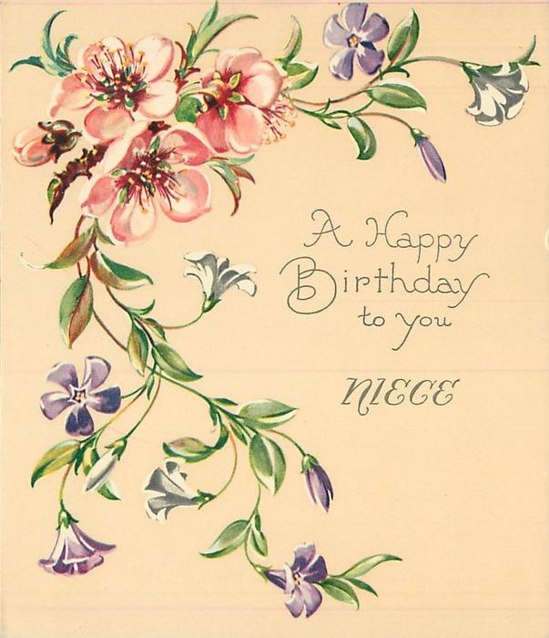 A HAPPY BIRTHDAY TO YOU  NIECE trailing purple & white flowered vine, several pink blossoms upper left
