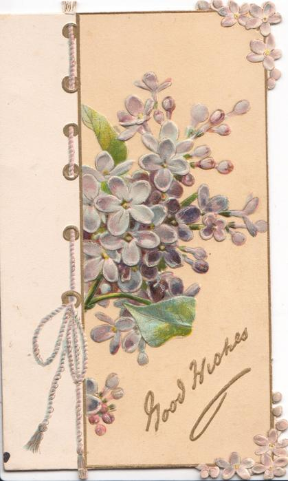 GOOD WISHES in gilt below on cream background, purple lilac above, vertical thread left