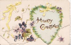 HEARTY GREETINGS on pale blue heart,  violets & yellow ribbon