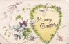 HEARTY GREETINGS on yellow heart, violets & pale purple ribbon