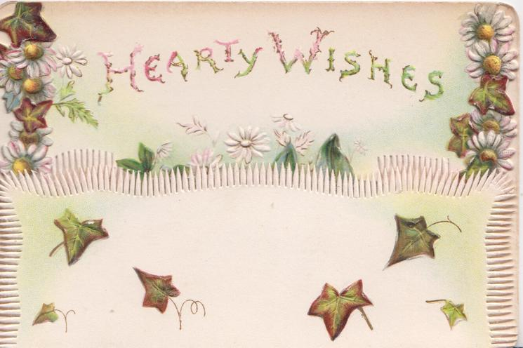 HEARTY WISHES on top flap above ivy leaves, white daisies with yellow centres around