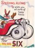 SPEEDING ALONG TO WISH YOU ALL SORTS OF HAPPY TIMES -- NOW YOU ARE SIX  rabbit in red car