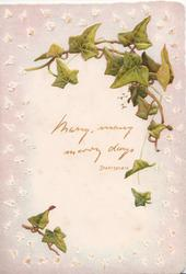 MANY, MANY, MERRY DAYS below ivy leaves