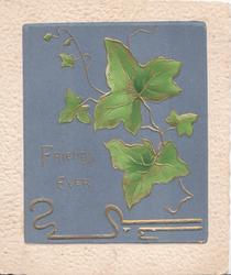 FRIENDS EVER in gilt on violet background, gilt design & gilt bordered ivy leaves