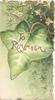 TO REMEMBER in gilt on large ivy leaf, green background, ivy above