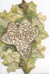 GREETINGS in gilt on large perforated central ivy leaf, green background with ivy leaves