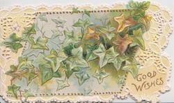 GOOD WISHES  in gilt lower right, mass of ivy leaves inset & complex marginal perforated design