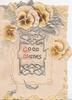 GOOD WISHES(G & W illuminated) in silvered design below bronze & white pansies, embossed