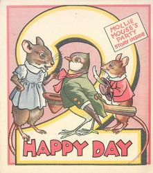 HAPPY DAY --  MOLLIE MOUSE'S PARTY STORY INSIDE personised mice & bird,  large number 2 behind, pink background