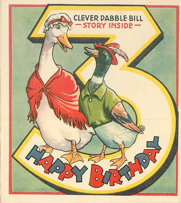 HAPPY BIRTHDAY--  CLEVER DABBLE BILL- STORY INSIDE- personised goose &  duck,  large number 3 behind, light green background
