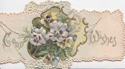 GOOD WISHES in silver on both sides of gilt bordered inset of pansies, embossed white marginal design