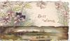 BEST WISHES in gilt among purple pansies, watery rural inset on wooden plank below