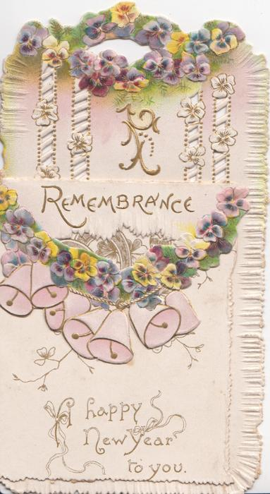 REMEMBRANCE above pansy chain & bells on folded front flap, more pansies & perforated design revealed back