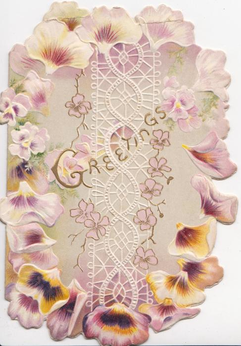 GREETINGS in gilt over complex stylised design, floral pansy petals on all four margins