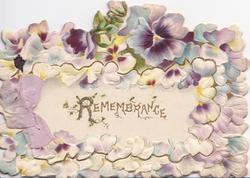 REMEMBRANCE(R illuminated) on front flap bordered by pansy petals, dense marginal design of purple pansies