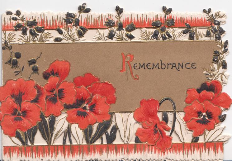 REMEMBRANCE(R illuminated) on brown background over perforated stylised red & black pansy design