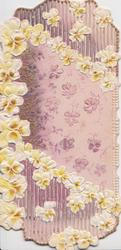 no front title, elaborate design of yellow & bronze pansies above & below purple background & more pansies