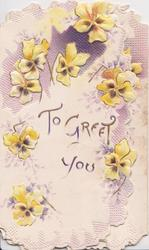 TO GREET YOU  yellow/bronze pansies around b oth flaps, embossed