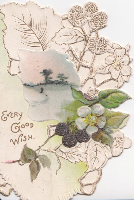 EVERY GOOD WISH in gilt left,watery rural inset, blackberry flower & berries in perforated stylised design