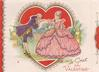 TO GREET MY VALENTINE woman in pink dress faces left, gentleman in purple bows to kiss her hand, die-cut heart with gilt frame