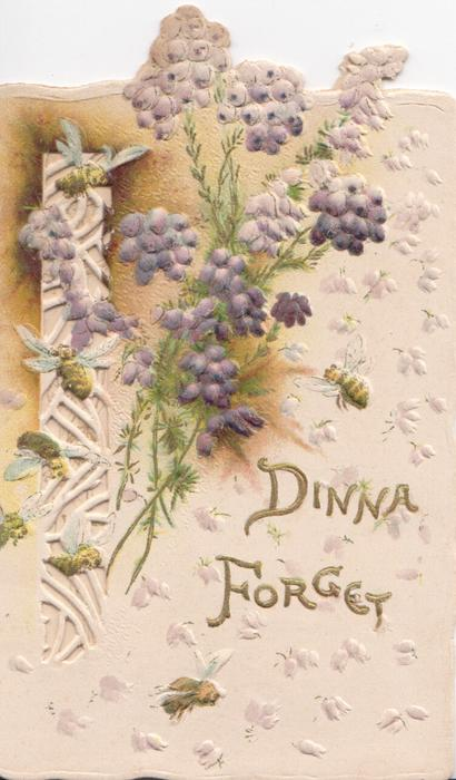 DINNA FORGET in gilt, below purple heather beside perforated design left