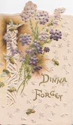 DINNA FORGET in gilt,below purple heather beside perforated design left
